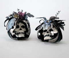 "Katherine's Collection Forest Cemetery Halloween Collection Four 6"" Skeleton Pumpkins Free Ship"