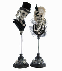 Katherine's Collection Family Portrait Halloween Collection Set Two 16.5 Skulls On Stands Free Ship-IN STOCK