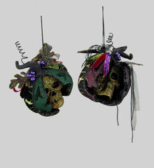 "Katherine's Collection Spellbound Halloween Collection Four 6.5"" Skull Pumpkin Ornaments Free Ship"