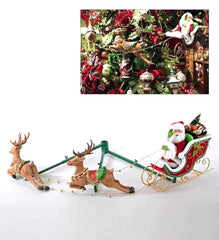 "Katherine's Collection Night Before Christmas Collection 12"" Santa In Sleigh With Two Reindeer Free Ship"