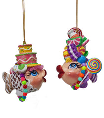 "Katherine's Collection Kissing Fish Collection Six Assort 3.75"" Sweet Tooth Kissing Fish Ornaments Free Ship"