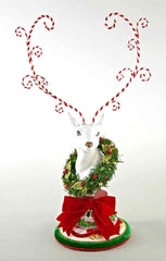 "Katherine's Collection Night Before Christmas Collection 21"" Table Top Deer Head With Wreath Free Ship"