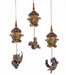 Katherine's Collection Tapestry Christmas Collection Six Assorted 9.25 Tapestry Animal Acorn Dangle Ornaments Free Ship