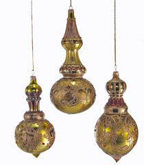 "Katherine's Collection Tapestry Christmas Collection Six Assorted 8"" Tapestry Cupola Finial Glass Ornaments Free Ship"