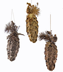 "Katherine's Collection Tapestry Christmas Collection Twelve Assorted 13"" Encrusted Pine Cone Ornaments Free Ship"