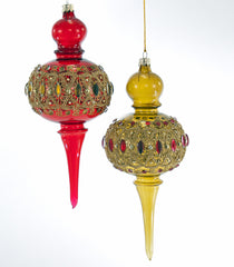 "Katherine's Collection Tapestry Christmas Collection Four Assorted 9"" Tapestry Finial Glass Ornaments Free Ship"
