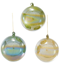 Katherine's Collection Tapestry Christmas Collection Twelve Assorted Large 130 mm Pearlized Green Glass Ornaments Free Ship