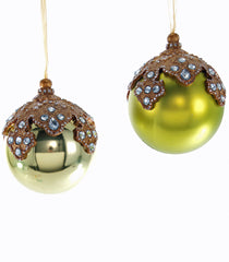Katherine's Collection Tapestry Christmas Collection Eight 100 mm Olive Glass Jewel Top Ornaments Free Ship