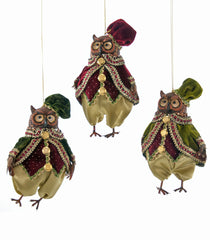 "Katherine's Collection Tapestry Christmas Collection Six 6"" Tapestry Owl Ornaments Free Ship"