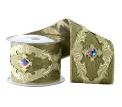 "Katherine's Collection Tapestry Christmas Collection Two 4"" x 5 yds Tapestry Pleated Jeweled Ribbon Rolls Free Ship"