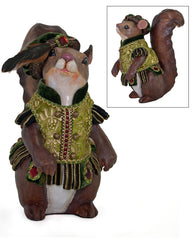 "Katherine's Collection Tapestry Christmas Collection 11"" Tapestry Squirrel Figurines Free Ship"