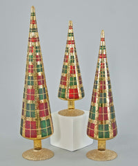 "Katherine's Collection Tartan Traditions Collection Three Assort 12, 15 & 18"" Glass Tabletop Tartan Trees Free Ship"