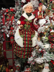 "Katherine's Collection Tartan Traditions Collection Life Size 63"" Mrs Santa Claus Display Doll Free Ship"