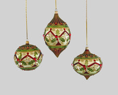 Katherine's Collection Tartan Traditions Collection Six Assort 100 mm Traditional Glass Bauble Ornaments Free Ship