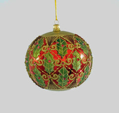 Katherine's Collection Tartan Traditions Collection Six Assort  120 mm Traditional Tartan Holly Glass Ball Ornaments Free Ship