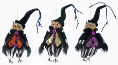 "Katherine's Collection Tricky Treats Halloween Collection Set Six 6"" Tricky Owl Ornaments Free Ship"