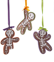 "Katherine's Collection Tricky Treat Halloween Collection Set Six  Assort Approx 6"" Gingerbread Skeleton Ornaments Free Ship"
