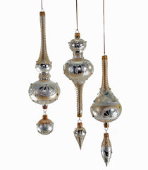 "Katherine's Collection Royal White Christmas Collection Six 11""Royal White Gold Dangle Glass Finial Ornaments Free Ship"