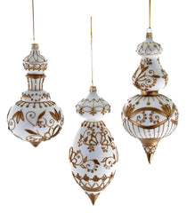"Katherine's Collection Royal White Christmas Collection Set Six Assorted 9.5"" Jeweled White Gold Cupola Glass Ornaments Free Ship"