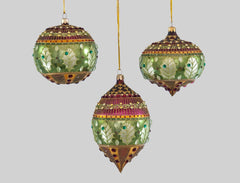 Katherine's Collection Into The Woods Collection Three Assort 100 mm Woodland Glass Bauble Ornaments Free Ship