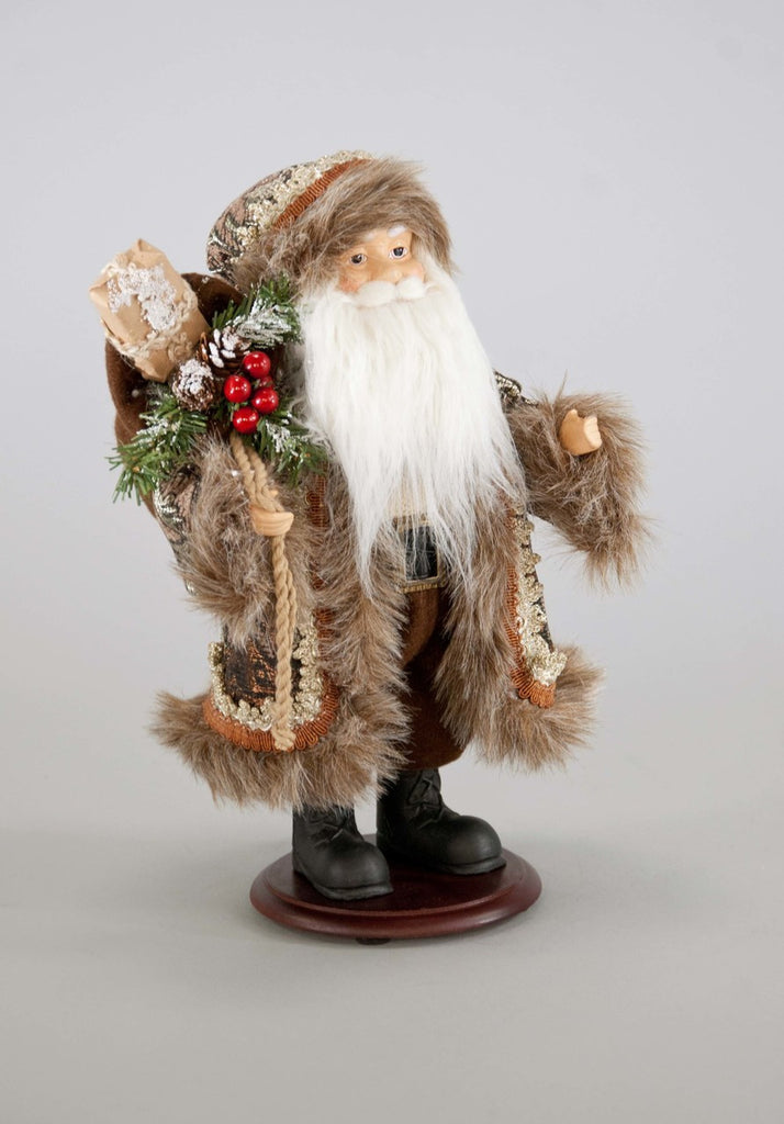 Katherines Collection Into The Woods Collection Two 12 Woodland Tabletop Santa Claus Figurines