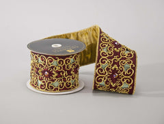 Katherine's Collection Into The Woods Collection Two 4 x 5 Yds Woodland Scroll Jeweled Ribbon Rolls Free Ship