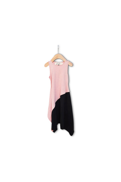 Rose and Black Colorblock Dress