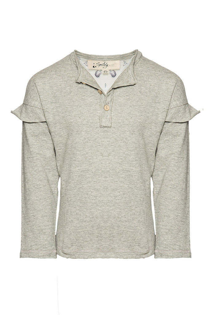 Raw Edge Ruffle Henley