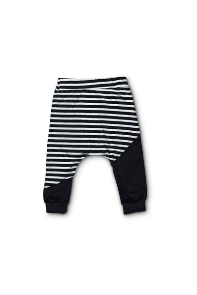 Stripe and Black Color Block Harem Pants
