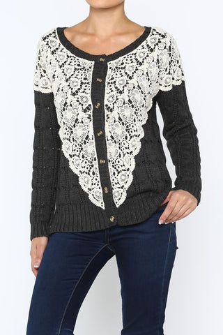 crochet and lace knit sweater cardigan
