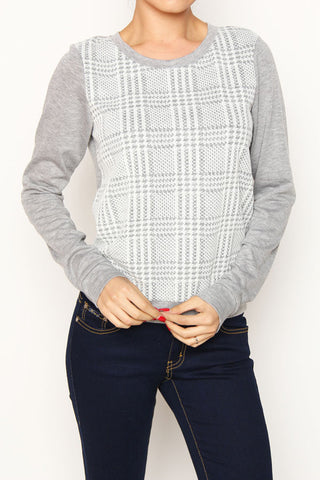 grey plaid front sweater