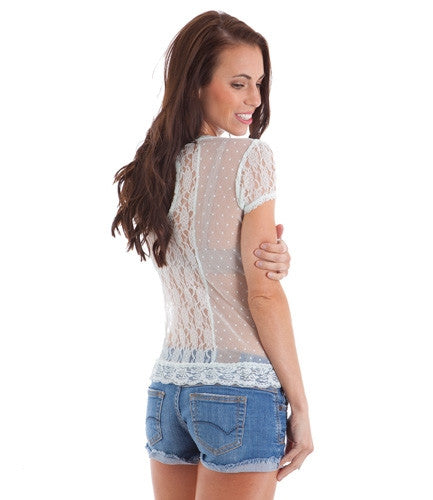mint lace sheer top