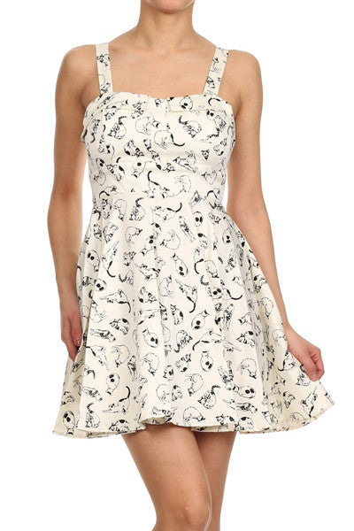 cream cat dress