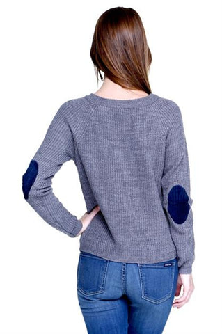 velvet elbow patch sweater