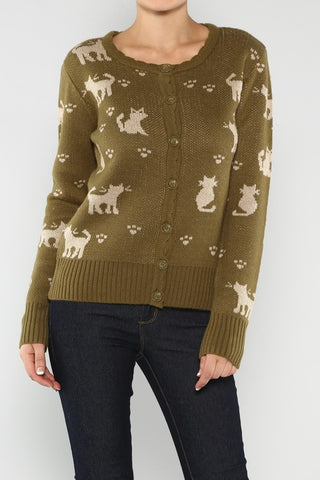 olive kitty print cardigan