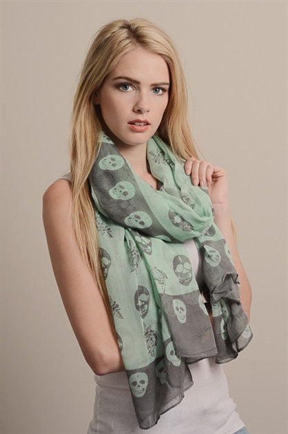 mint grey skull rose scarf