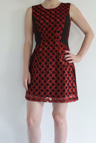 metallic red holiday dress