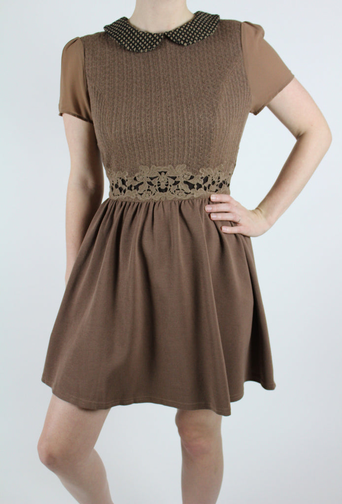 tweed peter pan collar brown dress