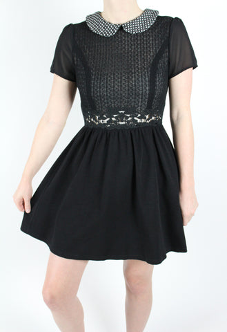 tweed peter pan collar black dress