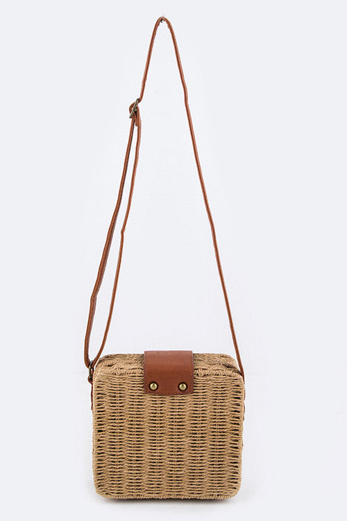 wicker messenger bag