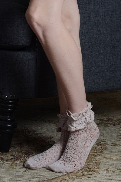 blush ruffle lace socks