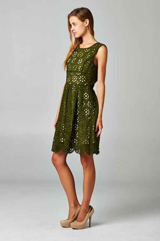 green floral crochet dress