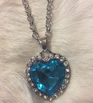 Blue Crystal Heart Necklace with cubic zirconia