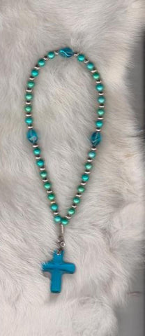 Prayer Beads with Faceted Beads and Cross
