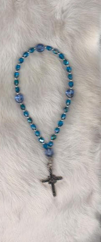 Blue Prayer Beads with Classy Silver Cross