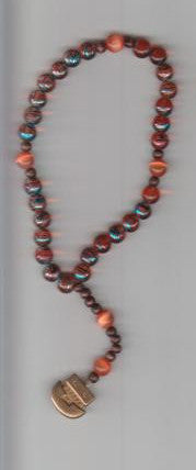 Large Orange Anglican Rosary with Noah's Ark centerpiece