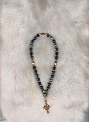 Prayer Beads with Black and Rainbow Beads