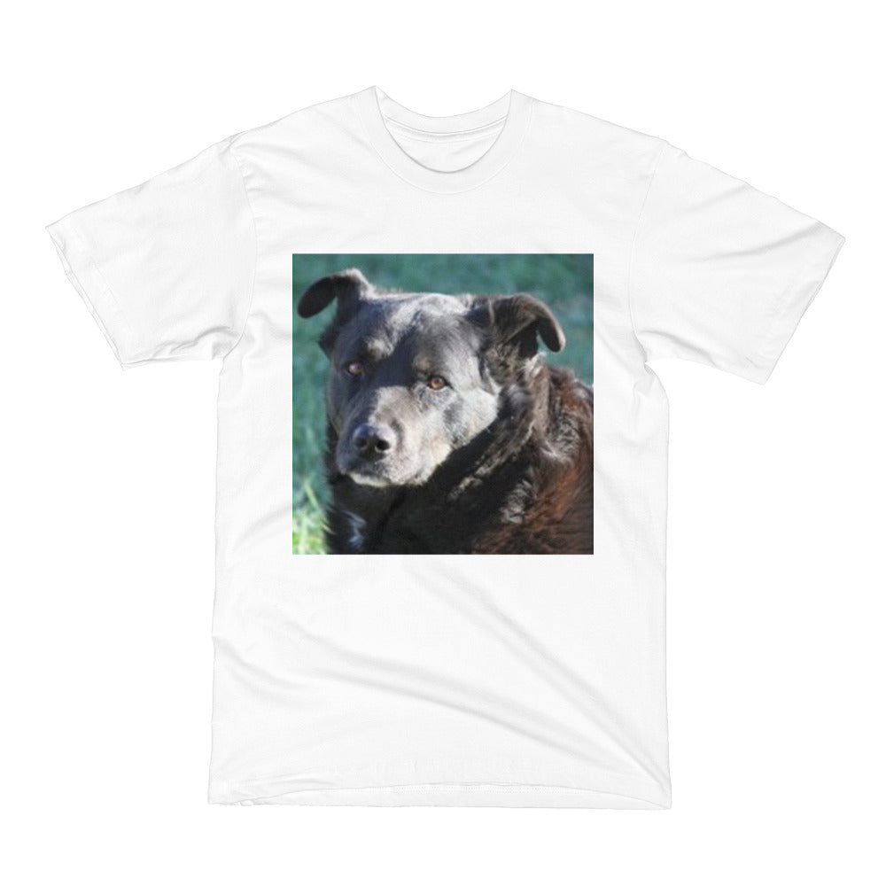 Short-sleeve T-shirt featuring a black Lab
