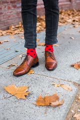 Navy and red spot socks, mens socks, cool socks by rock my socks