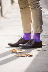 Purple argyle socks, mens fashion socks
